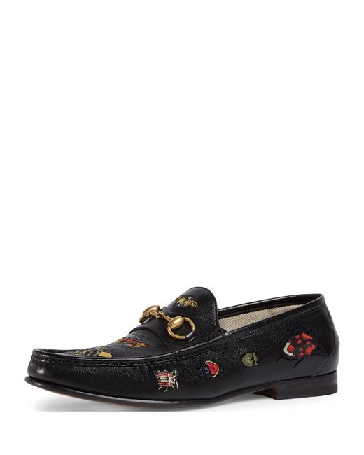 2ebdb0a45ce Gucci - Black Embroidered Leather Horsebit Loafer for Men - Lyst ...