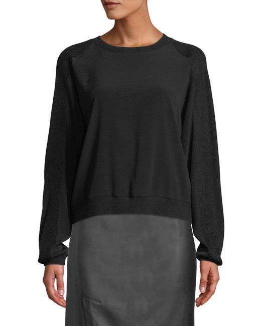 Vince - Black Crewneck Sweatshirt W/ Ribbed Sleeves - Lyst