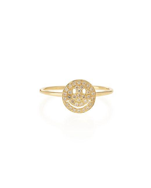 Sydney Evan   Metallic 14k Gold Happy Face Diamond Ring   Lyst