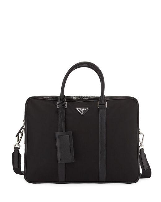 Prada - Black Men's Slim Nylon Briefcase With Leather Trim for Men - Lyst
