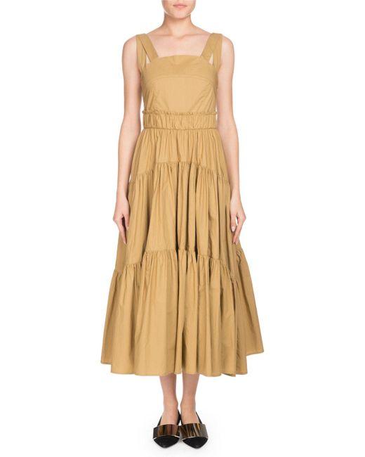 Proenza Schouler - Natural Square-neck Sleeveless 3-tier Long Cotton Poplin Long Dress - Lyst