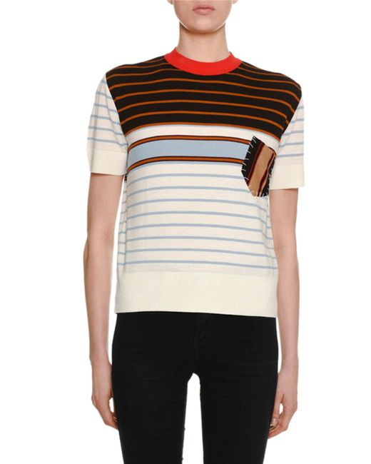 Marni - White Crewneck Short-sleeve Striped Wool Knit Tee W/ Patch Pocket Detail - Lyst