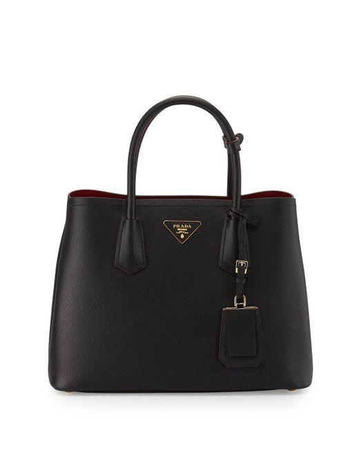 Prada - Black Saffiano Cuir Double Small Tote Bag - Lyst