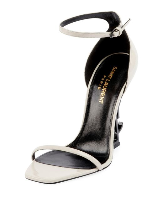 f7e9c35c0bb5 Saint Laurent - White Opyum Ysl Logo-heel Sandals With Black Hardware -  Lyst ...
