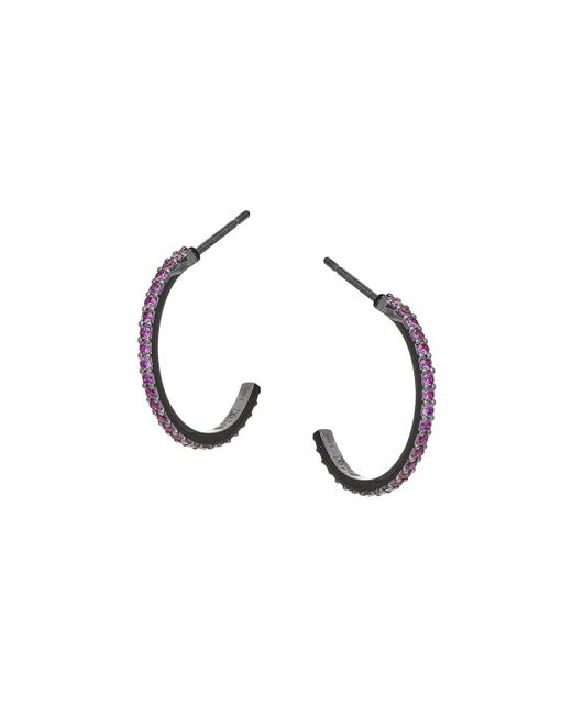 Lana Jewelry | Metallic Electric 14k Black Gold Hoop Earrings With Pink Sapphires | Lyst