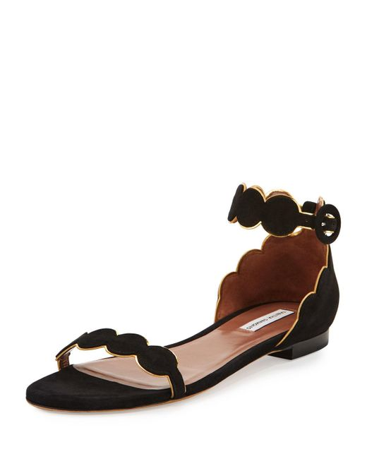 Tabitha Simmons | Black Pearl Suede Ankle-wrap Flat | Lyst