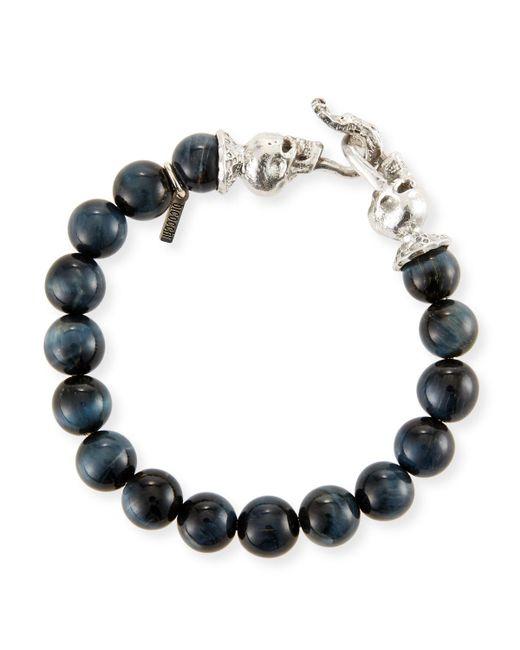 Emanuele Bicocchi - Black Men's Blue Tiger Eye Sterling Silver Bracelet - Lyst