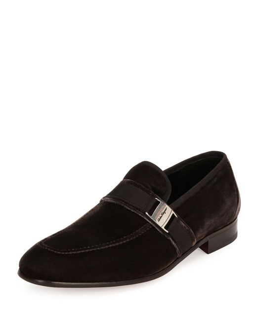 Ferragamo | Brown Danny 2 Velvet Formal Loafer for Men | Lyst