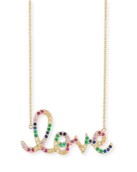 Sydney Evan - Metallic Large Rainbow Sapphire Love Necklace - Lyst