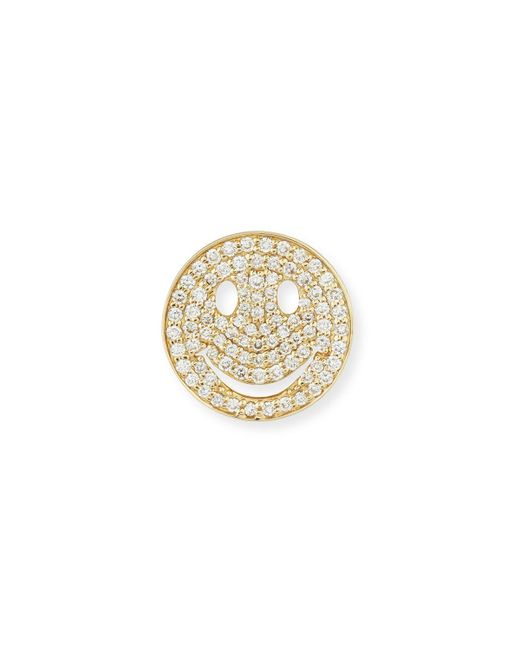 Sydney Evan | Metallic Large Pavé Diamond Happy Face Stud Earring | Lyst