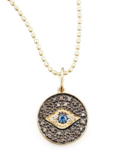 Sydney Evan - Metallic Small Diamond Evil Eye Medallion Necklace - Lyst