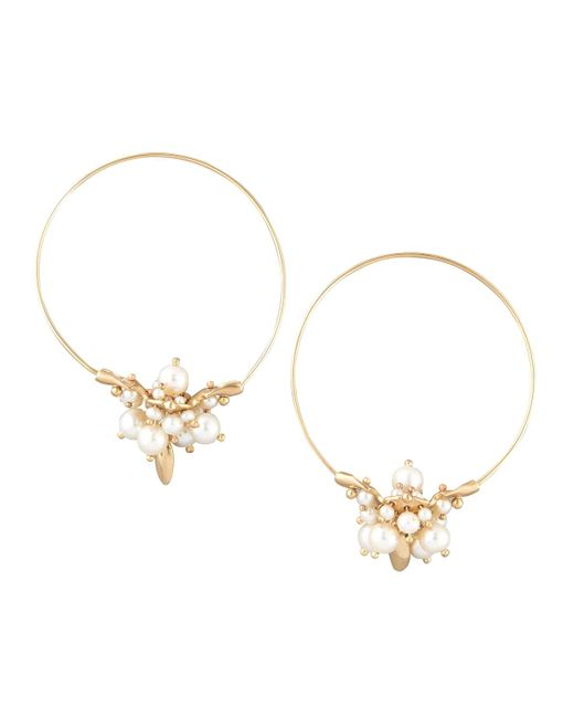 Ted Muehling - Metallic Pearl Cluster Hoop Earrings - Lyst