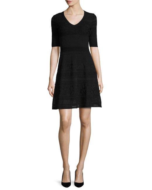 M Missoni | Black Short-sleeve Mix-stitched A-line Dress | Lyst