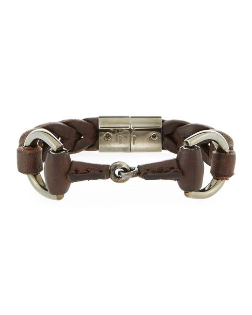 Gucci | Brown Men's Leather Horsebit Bracelet for Men | Lyst