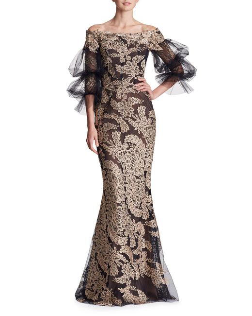 Lyst - Marchesa Off-the-shoulder Lace Column Evening Gown W/ Tulle ...
