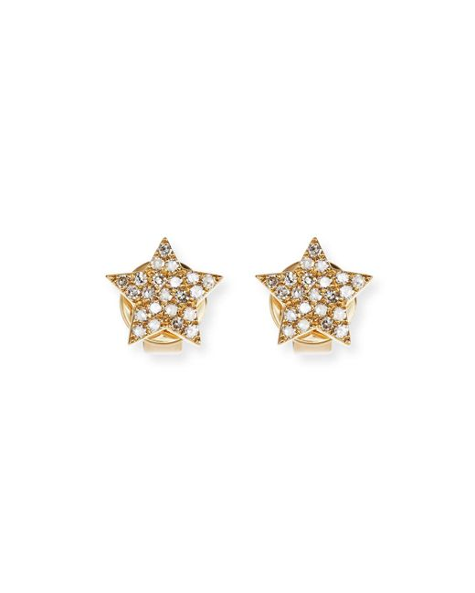 EF Collection - Metallic Pavé Diamond 14k Gold Star Stud Earrings - Lyst