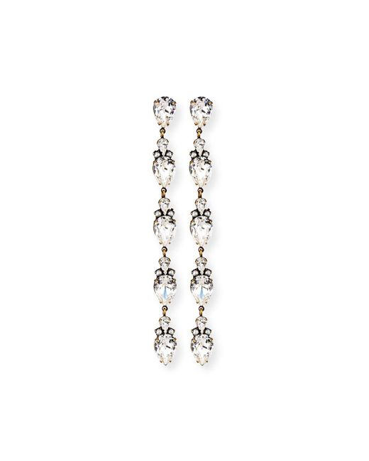 Auden - White Olivia Linear Crystal Drop Earrings - Lyst