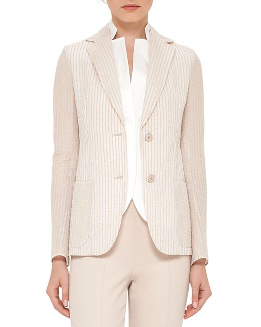 Akris | Natural Pick-stitched Two-button Jacket | Lyst
