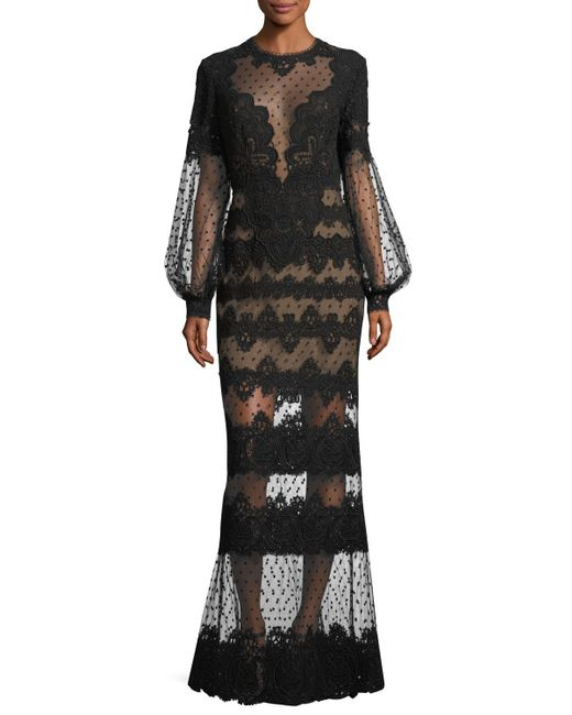 Elie Saab | Black Lace-embroidered Swiss Dot Gown | Lyst
