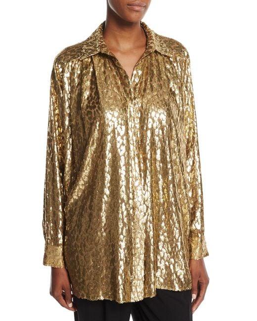 Michael Kors | Metallic Cheetah Fil Coupe Shirt | Lyst
