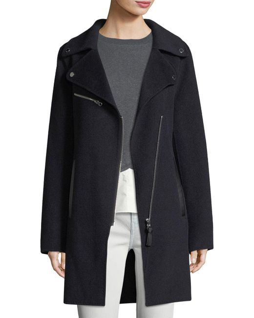 10 Crosby Derek Lam - Blue Notched-collar Zip-front Wool-blend Coat - Lyst
