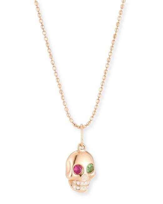 Sydney Evan - Metallic Mini Ruby & Garnet Skull Pendant Necklace - Lyst