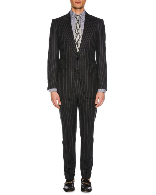 Tom Ford Gray Men's Pinstriped Wool Two-piece Suit for men
