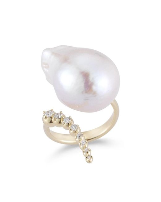 Mizuki - Metallic Curved Baroque Pearl & Diamond Ring In 14k Gold - Lyst