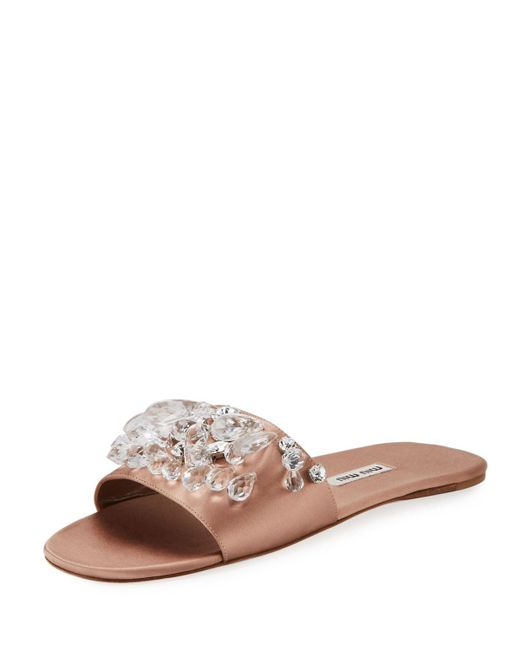 Miu Miu - Black Jeweled Satin One-band Slide Sandal - Lyst