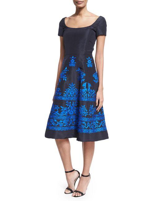 Oscar de la Renta   Blue Short-sleeve Embroidered Faille Cocktail Dress   Lyst
