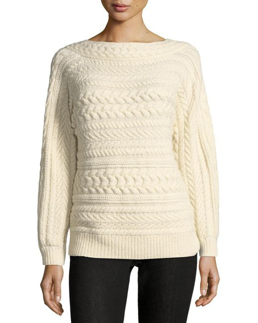 Ralph Lauren Collection - Natural Cable-knit Dolman-sleeve Cashmere Sweater - Lyst