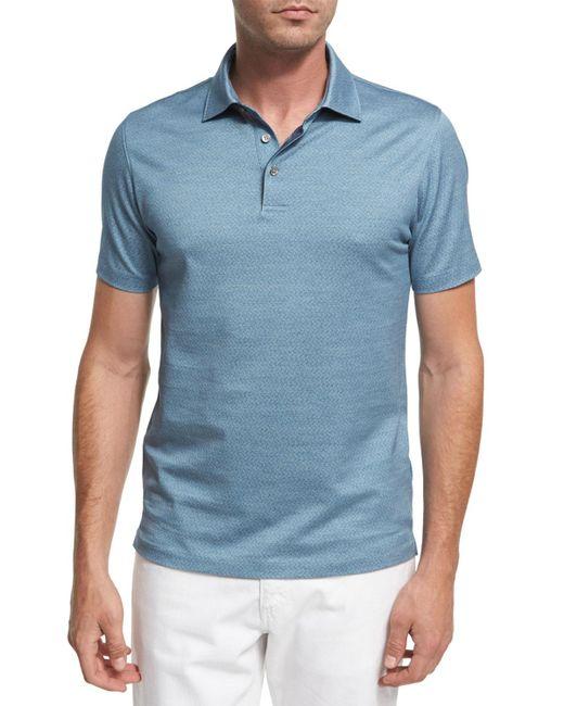 Ermenegildo Zegna | Blue Maze Chevron Cotton Polo Shirt for Men | Lyst