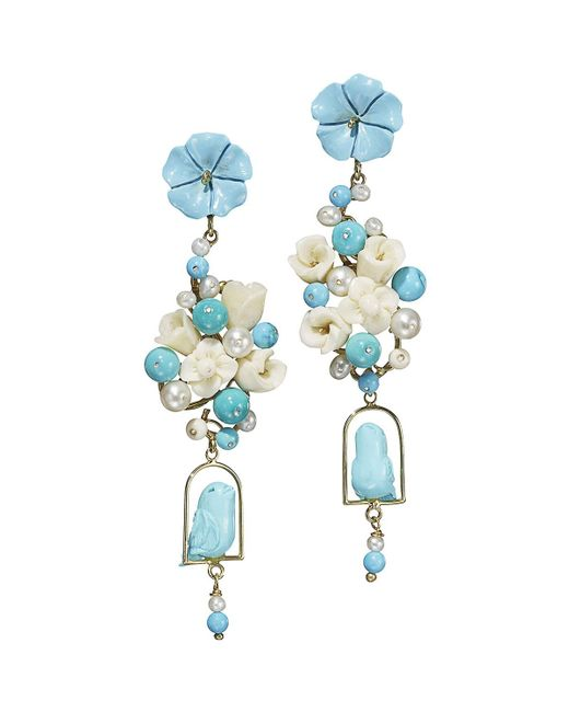Of Rare Origin - Blue Turquoise & Pearl Nester Earrings - Lyst