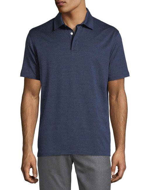 Lyst ermenegildo zegna denim knit cotton polo shirt in for Zegna polo shirts sale