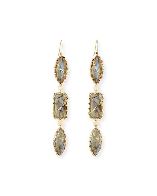 Lana Jewelry   Metallic 14k Lumos Triple-drop Moonstone/onyx Earrings   Lyst