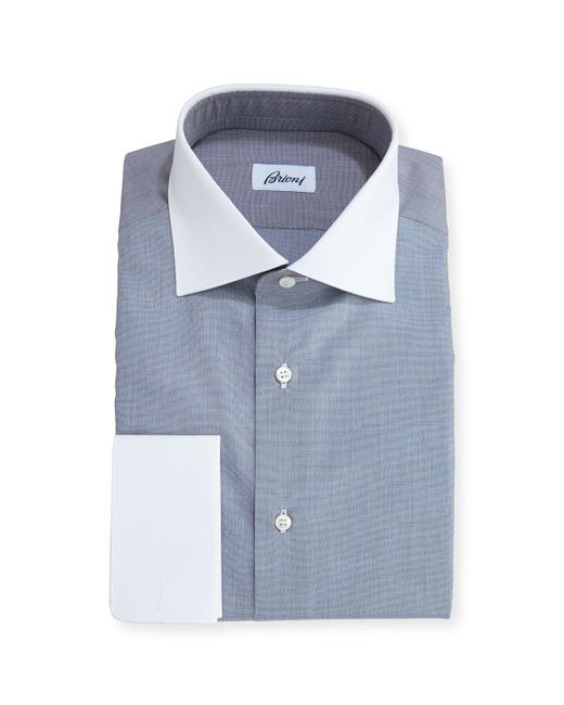 Brioni | Gray End-on-end Dress Shirt With Contrast Collar & Cuffs for Men | Lyst