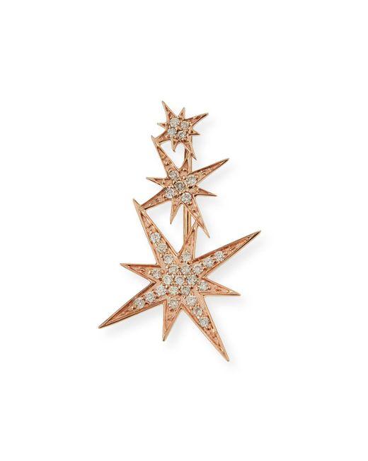 Sydney Evan | Pink 14k Rose Gold Triple Diamond Starburst Ear Climber Earring | Lyst