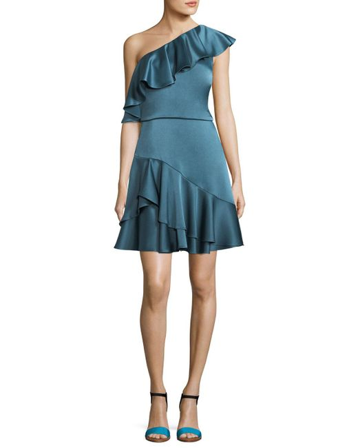Halston Heritage - Blue One-shoulder Ruffled Satin Mini Dress - Lyst
