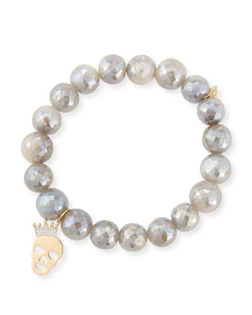 Sydney Evan - 10mm Mystic Gray Moonstone Bracelet With Diamond Skull Charm - Lyst