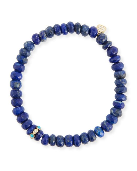 Sydney Evan - Blue 8mm Lapis Beaded Bracelet With Turquoise & Diamond Bezel Station - Lyst