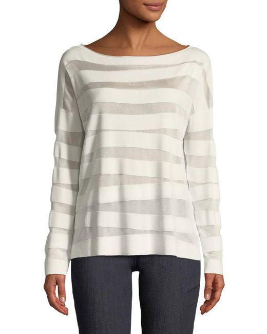 Lafayette 148 New York - Multicolor Matte Crepe Intarsia-striped Sweater - Lyst