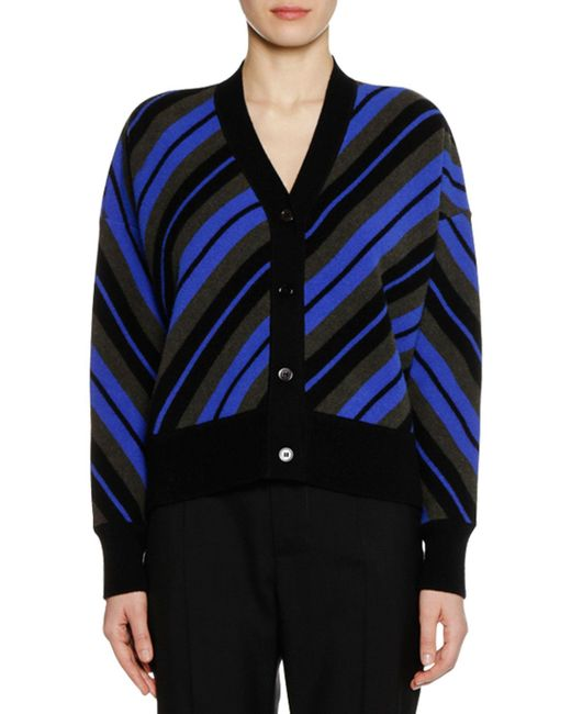 Marni - Black V-neck Button-front Striped Wool Cardigan - Lyst
