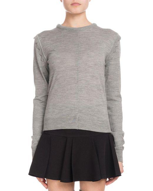 Chloé - Gray Scallop-shoulder Crewneck Sweater - Lyst