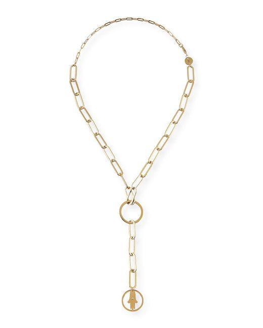 Jennifer Zeuner | Pink Casia Chunky Chain Short Lariat Necklace With Hamsa Pendant | Lyst