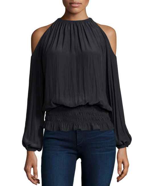 Ramy Brook - Black Lauren Cold-shoulder Smocked-waist Top - Lyst