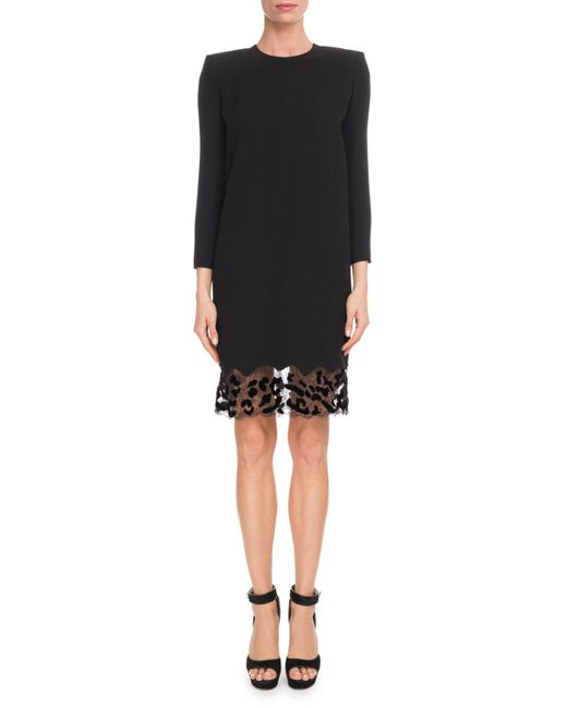 Givenchy - Black Jewel-neck Crepe Shift Cocktail Dress W/ Leopard-lace Trim - Lyst