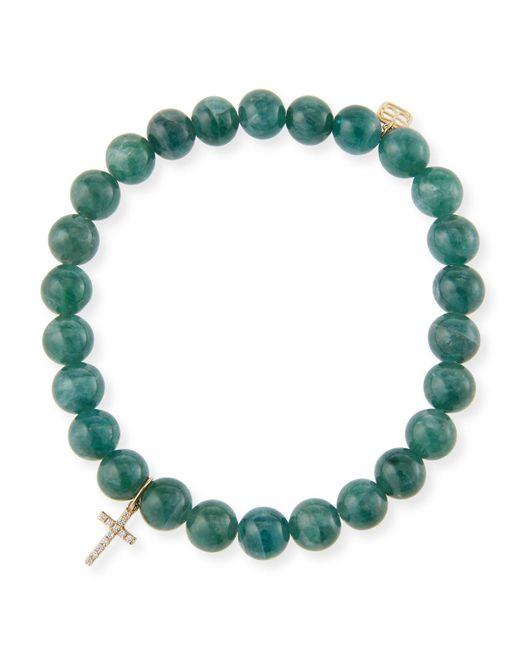 Sydney Evan - Green 14k Apatite & Diamond Cross Bracelet - Lyst