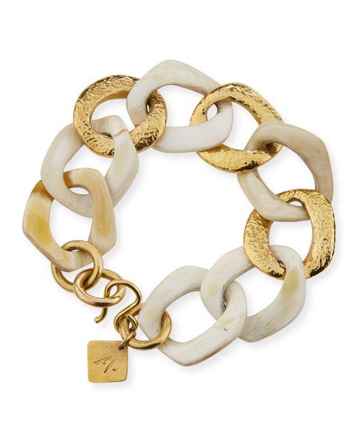 Ashley Pittman - White Salama Light Horn & Bronze Link Bracelet - Lyst
