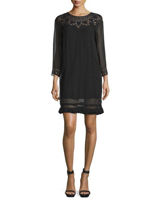Joie   Black Agatha Laser-cut Crepe Shift Dress   Lyst