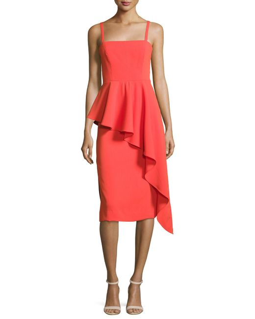MILLY - Red Italian Cady Cascading Ruffle Midi Sheath Dress - Lyst
